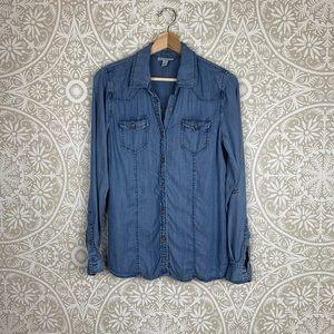 Denim Chambray Button Down Shirt